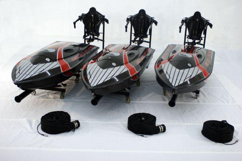 The Jetlev jetpack, supply hose and boat unit