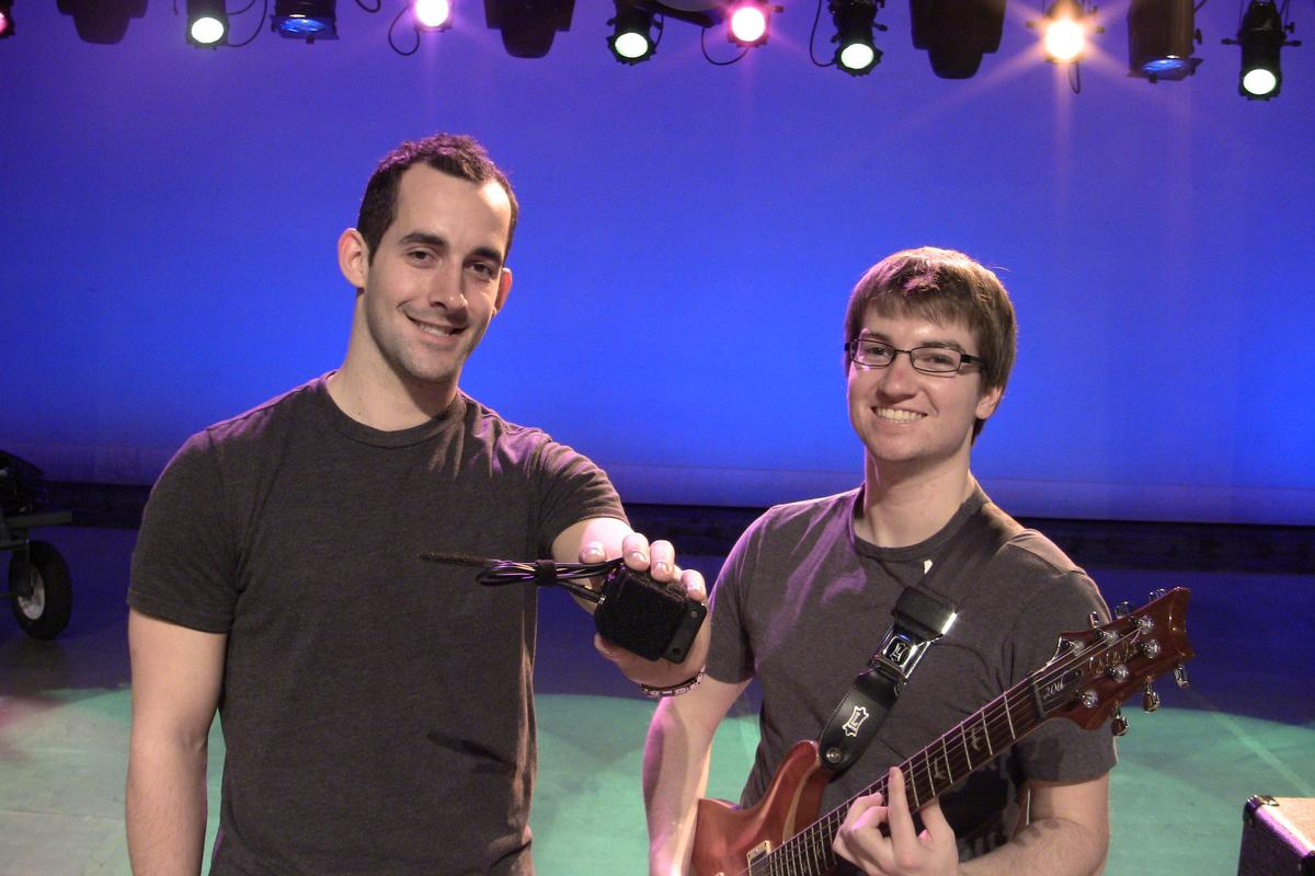 A team of Purdue University students has developed a device that uses sensors at a guitarist's ankle to wirelessly control a virtual wah distortion effect