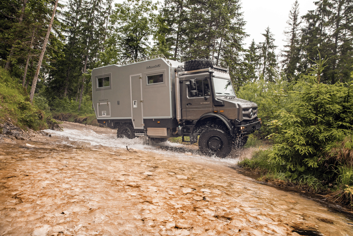 The Bimobil EX435 puts its water-crossing capabilities to work