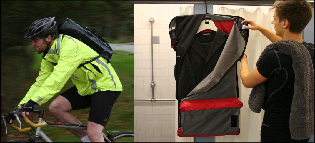 The Cambridge Design Partnership has announced a solution for commuters who want to cycle to work but still want to have a crease-free suit to wear at the office - Suitpack