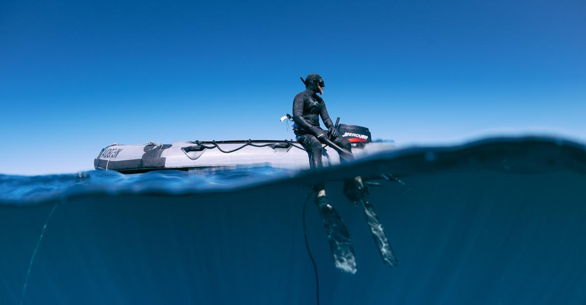 A diver wearing a shark-repelling device from Ocean Guardian