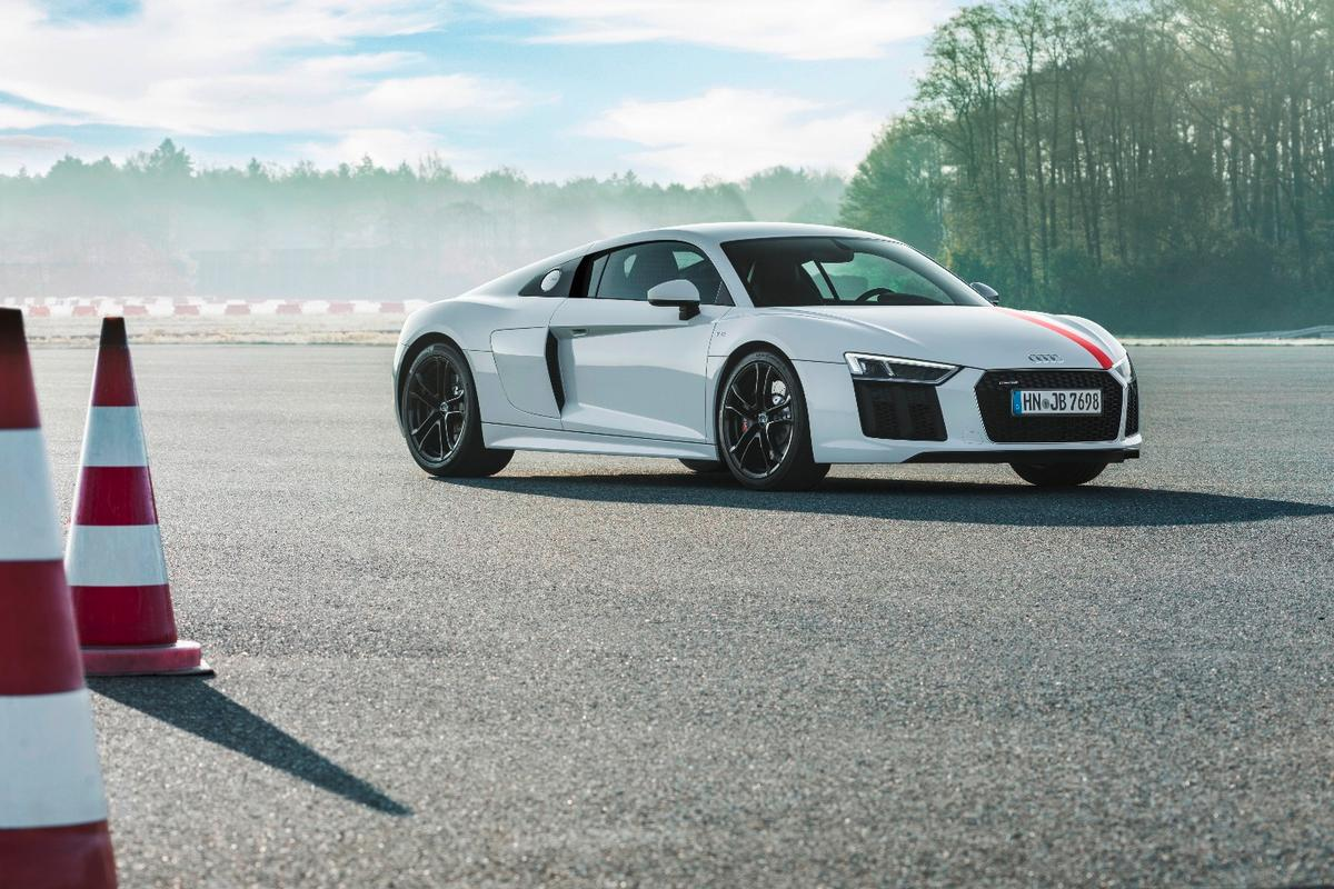 "The Audi R8 V10 RWS: Flicking into Dynamic Mode loosens the grip of Stability Control for ""controlled drifts,"" although the company says the system will still intervene if things get out of hand"