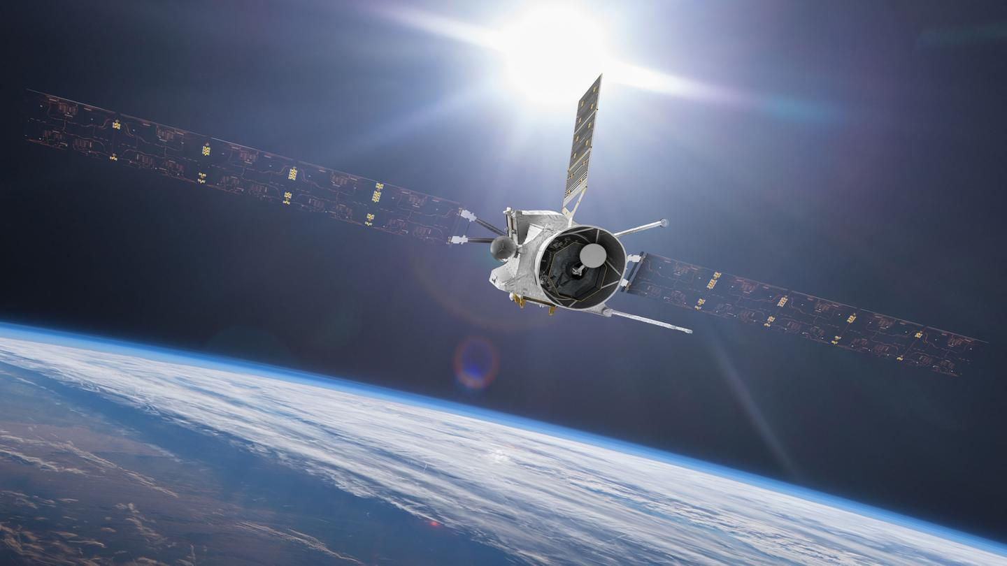 An artist's rendition of BepiColombo, as it flies past Earth in its cruise configuration