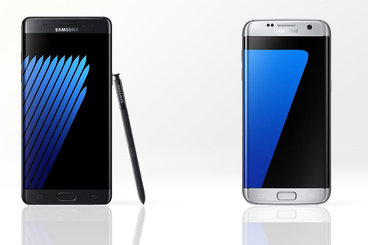 New Atlas compares the features and specs of the Galaxy Note 7 (left) and the Galaxy S7 edge
