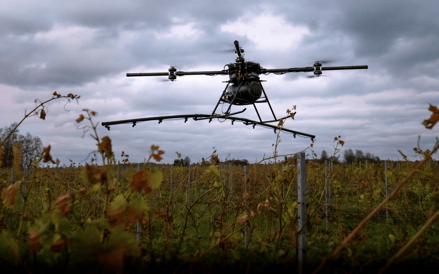 The Agro drone has a top forward speed of 4 meters (13 ft) per second