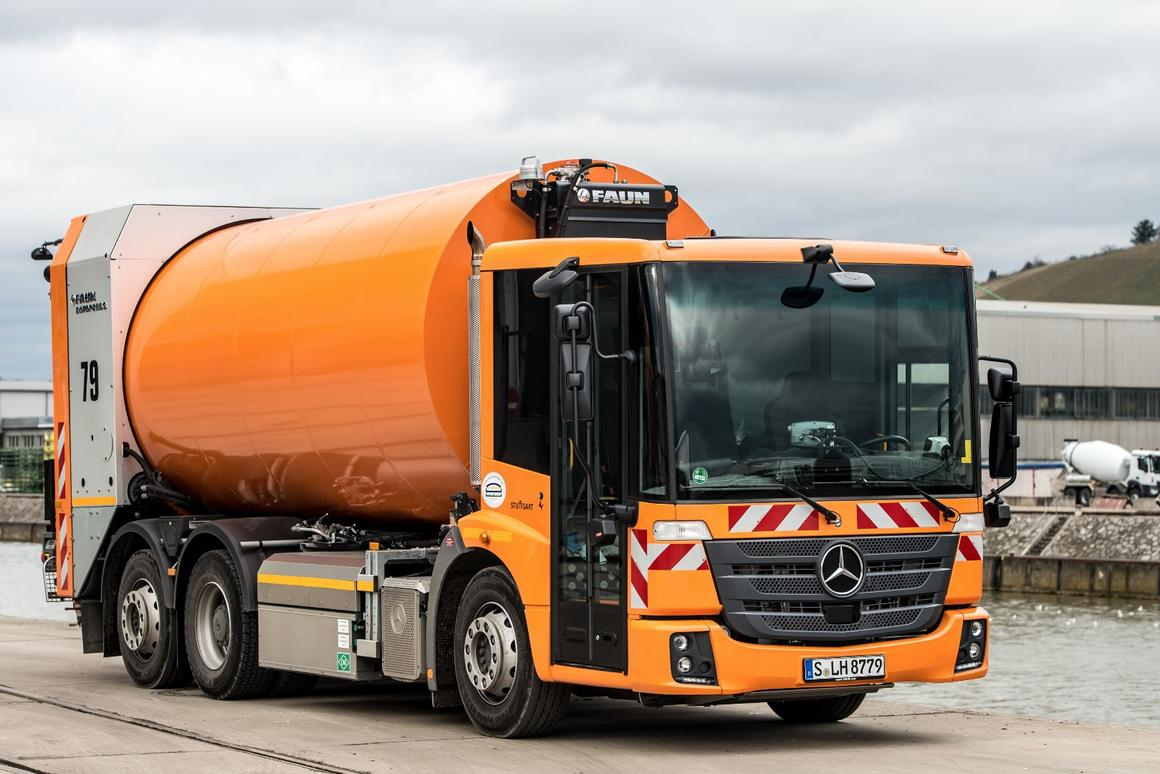 The Mercedes CNGtruck promises low emissions and less noise in the city