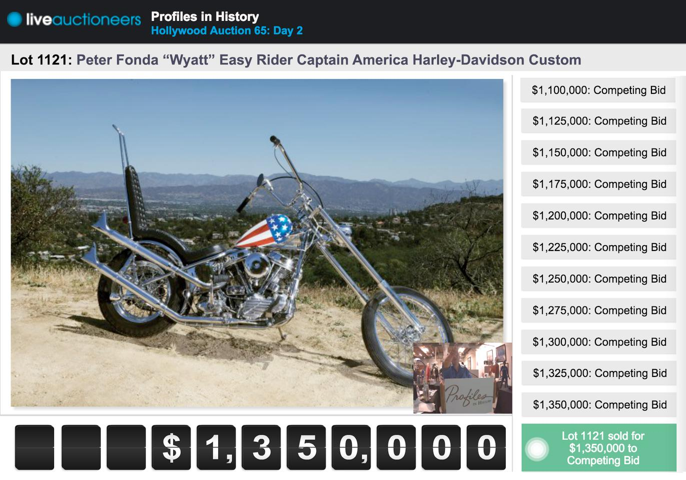 The liveauctioneers online bidding module from the Profiles in History auction of the other Captain America bike on 19 October 2014 shows the highest bids ever lodged for a motorcycle at auction. The final hammer price of $1,350,000 was effectively $1.62 million including buyers premium. The sale reportedly fell through after auction and a lesser amount is believed to have been paid.