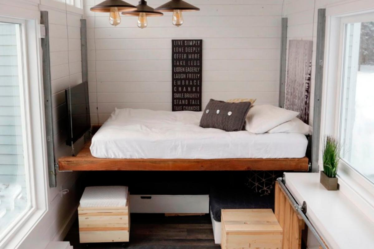 The elevating bed was built for around US$500 using standard hardware store parts