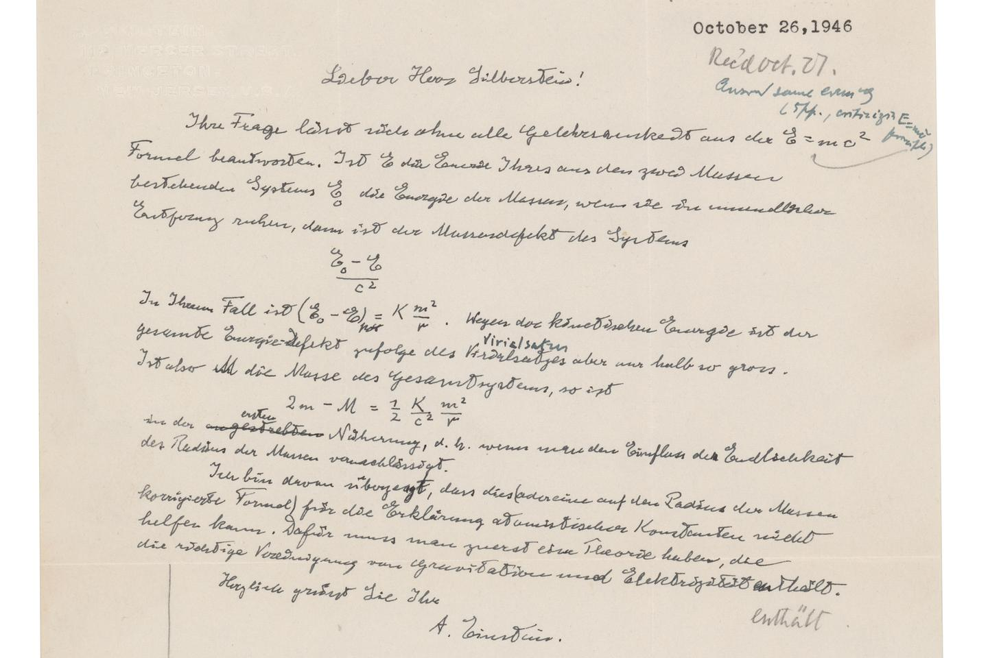 """Invoking the immutable laws of supply and demand, this one page handwritten letter from Albert Einstein to Dr. Ludwik Silberstein, in German, on personal Princeton letterhead, and dated 26 October 1946, sold for $1,243,708. The letter contains the singular known holograph in private ownership of Einstein most famous equation """"E = mc2."""""""