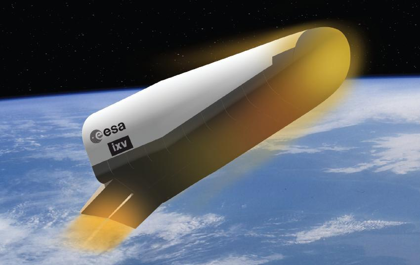 Artists concept of the Intermediate eXperimental Vehicle in orbit during its first atmospheric test flight (Image: ESA/J.Huart)