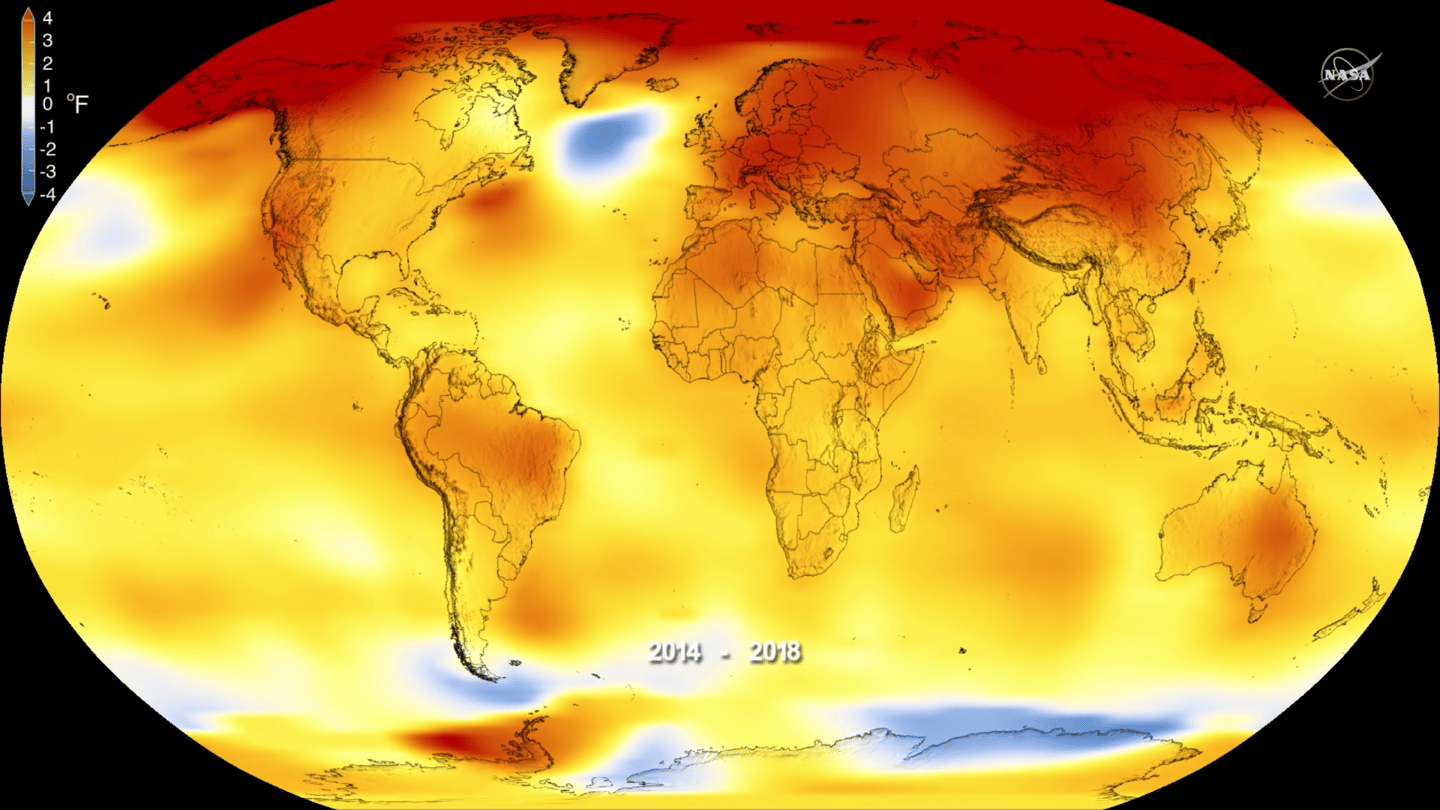 This map shows the differences in average temperatures, with yellow, orange and red indicating the largest increases above the average