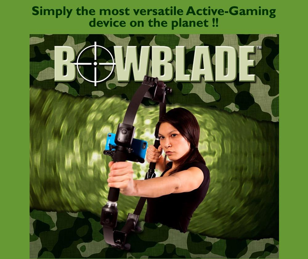 The BowBlade is a gadget designed to add realism to first-person archery shooter games on mobile devices