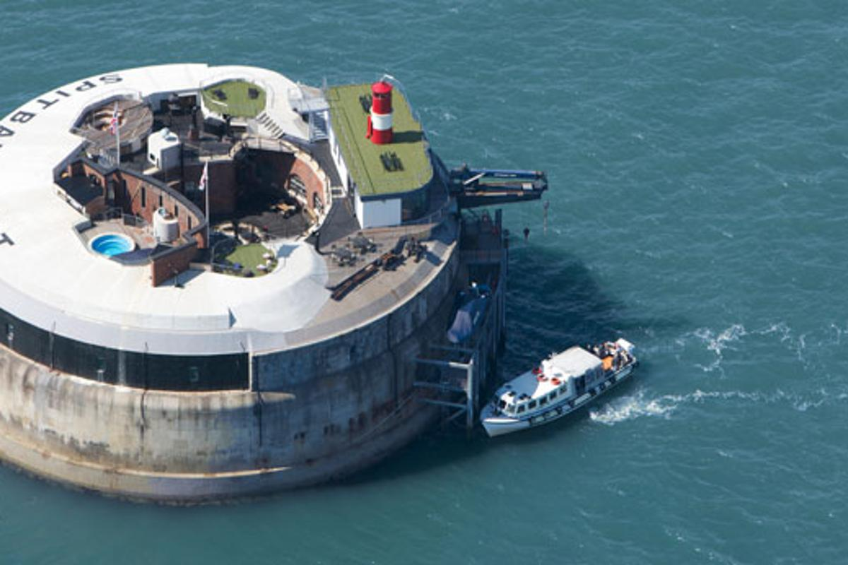 Located one mile out to sea from Portsmouth Harbor, UK, the 134 year old Spitbank Fort has been transformed into a luxury hotel