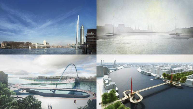 A shortlist of four designs has been chosen for the Nine Elms to Pimlico Bridge that will cross the River Thames in London, UK