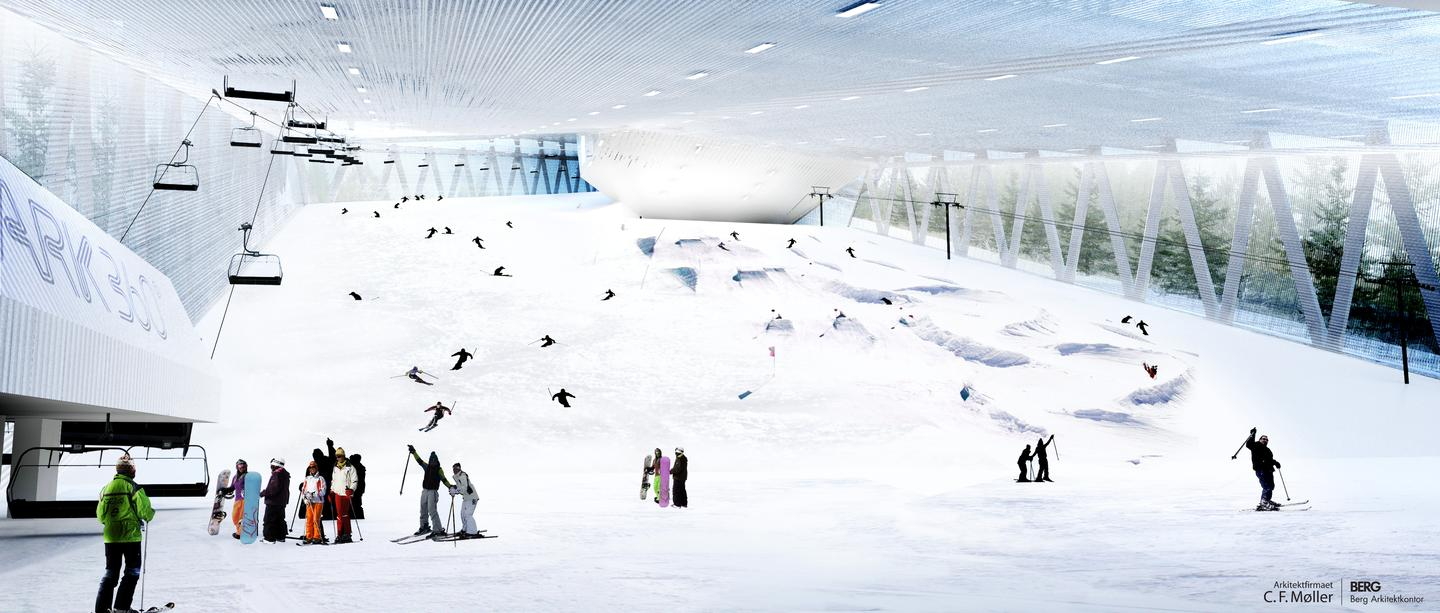 The resort features a 3.5km cross country skiing tunnel; arenas for biathlons, ice hockey, bandy and figure skating; and a snowboarding park (image from CF Moller)