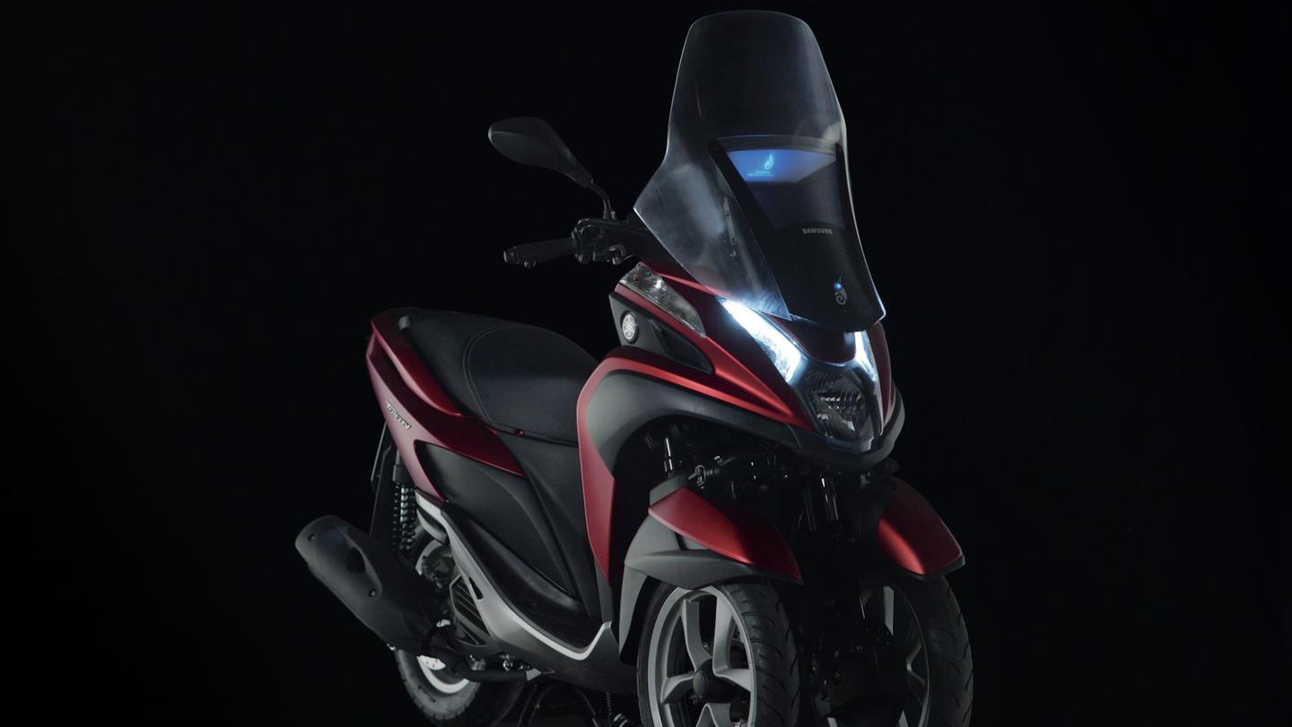 Yamaha's Tricity tilting three-wheeler was selected for the development of the Samsung Smart Windshield concept