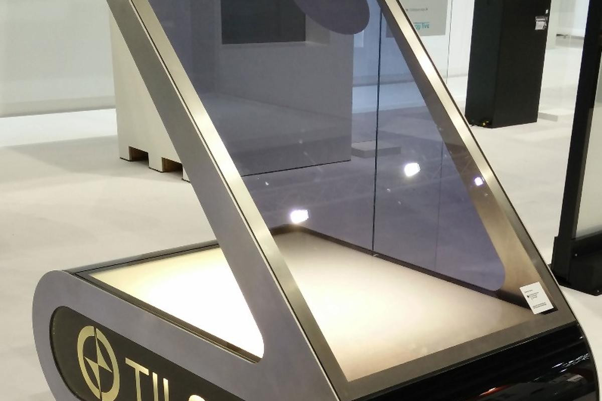 A prototype electrochromic window that is able to switch much faster than existing windows and can be made in different colored tints