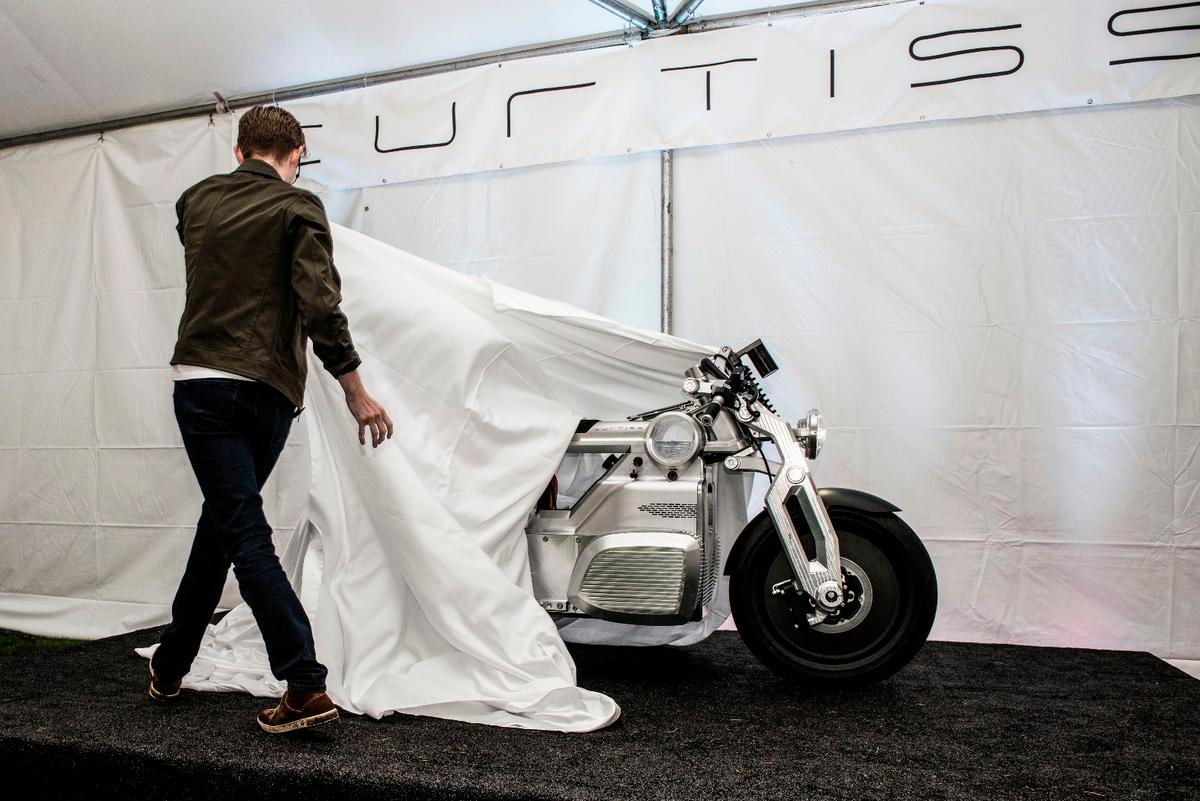 The Curtiss Zeus prototype made its debut at the Quail Motorcycle Gathering on May 5