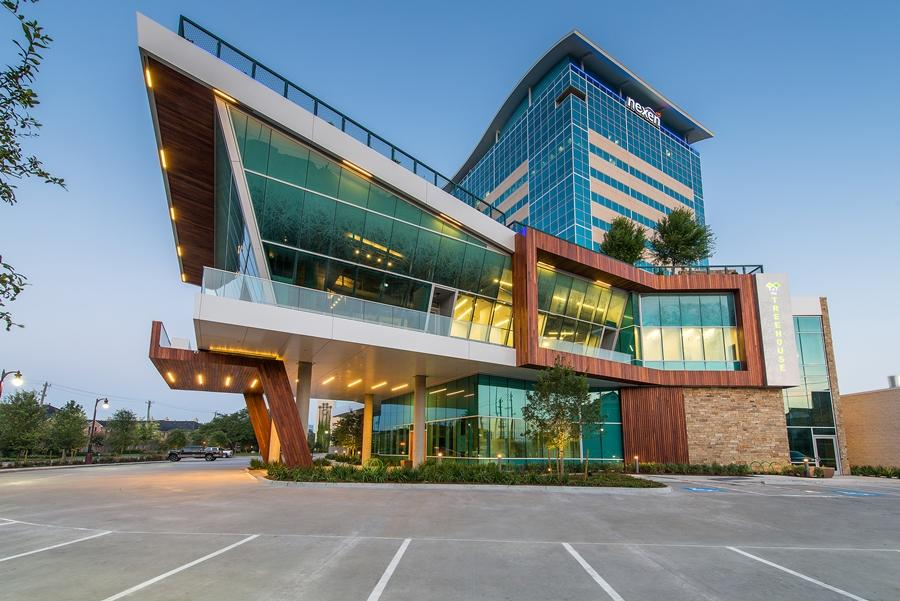 The Treehouse is a high-tech and green office building in Houston's Memorial City, US