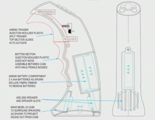 Diagram detailing the inner workings of the Dragon Grip sound generator