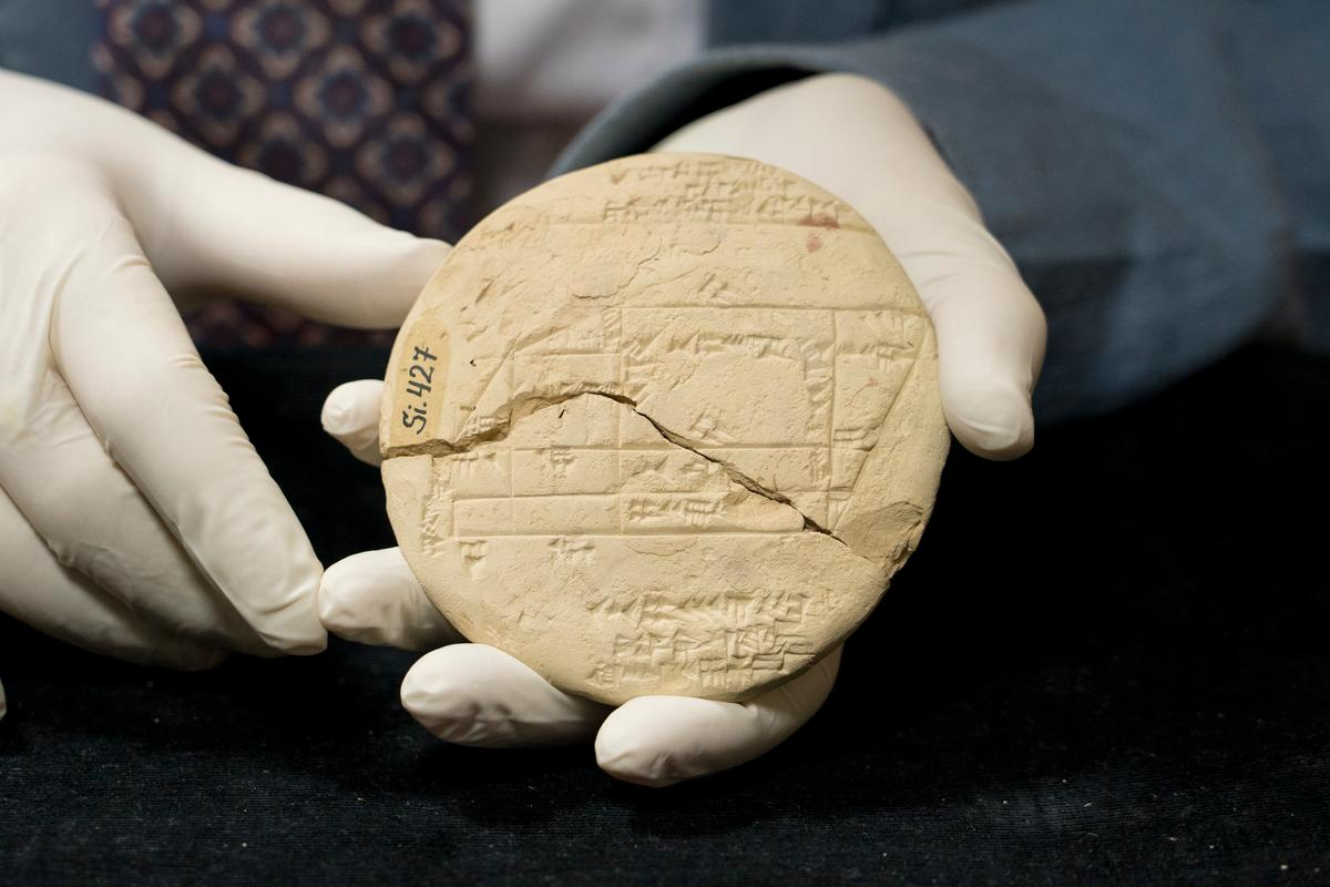 The ancient clay tablet bearing what is believed to be the oldest known example of applied geometry