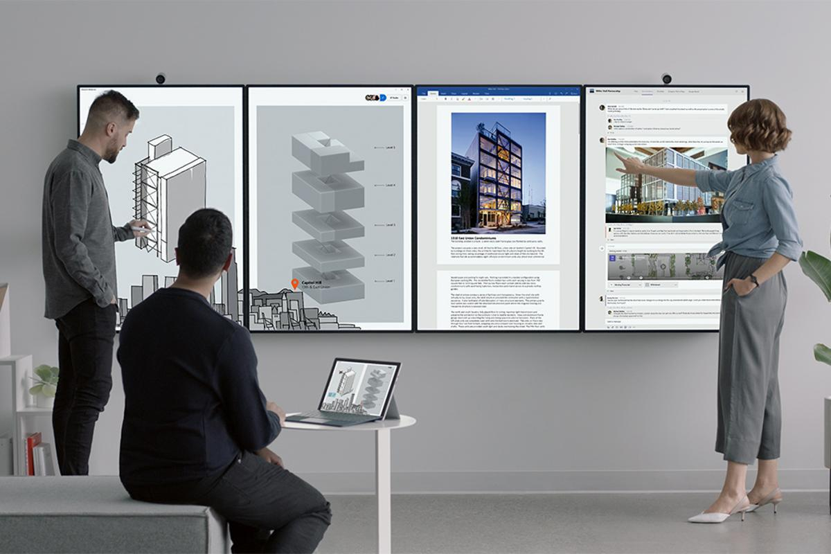 The Surface Hub 2 allows several users to log in simultaneously, allowing for collaborative digital workspaces