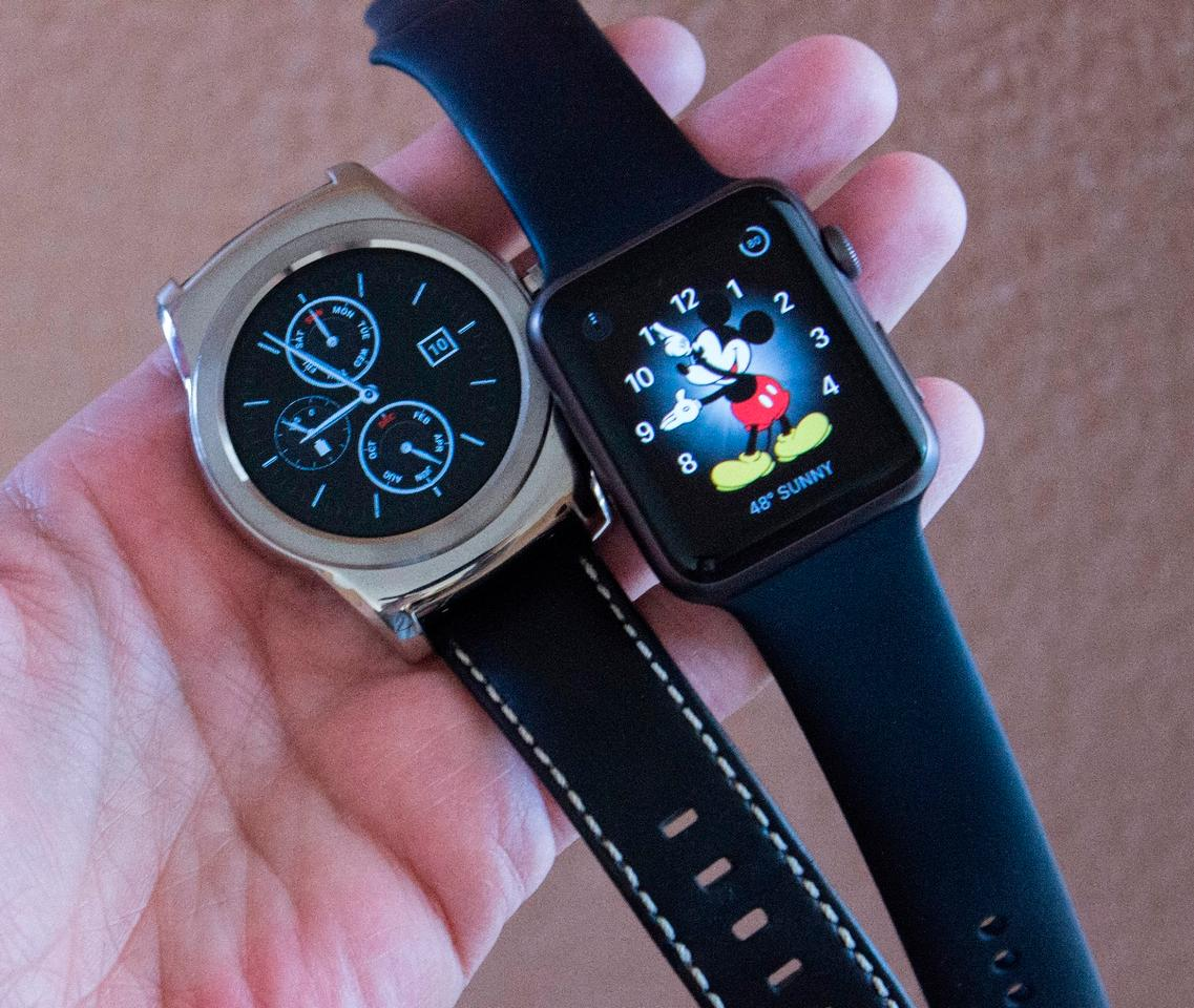 The LG Watch Urbane has a stainless steel body, while the Apple Watch Sport we handled has an aluminum one (steel and gold versions are also available)