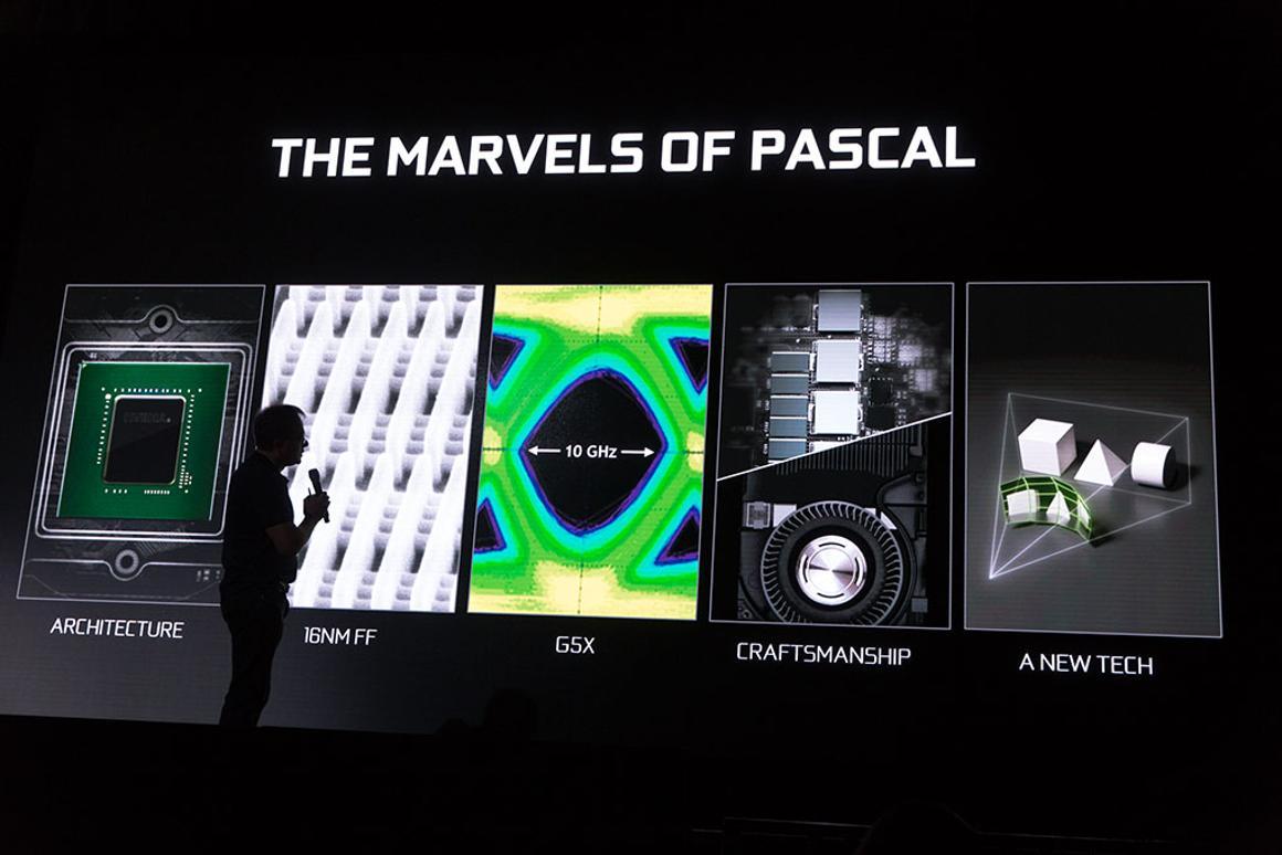 Nvidia CEO Jen-Hsun Huang at the GeForce GTX 1080 event.