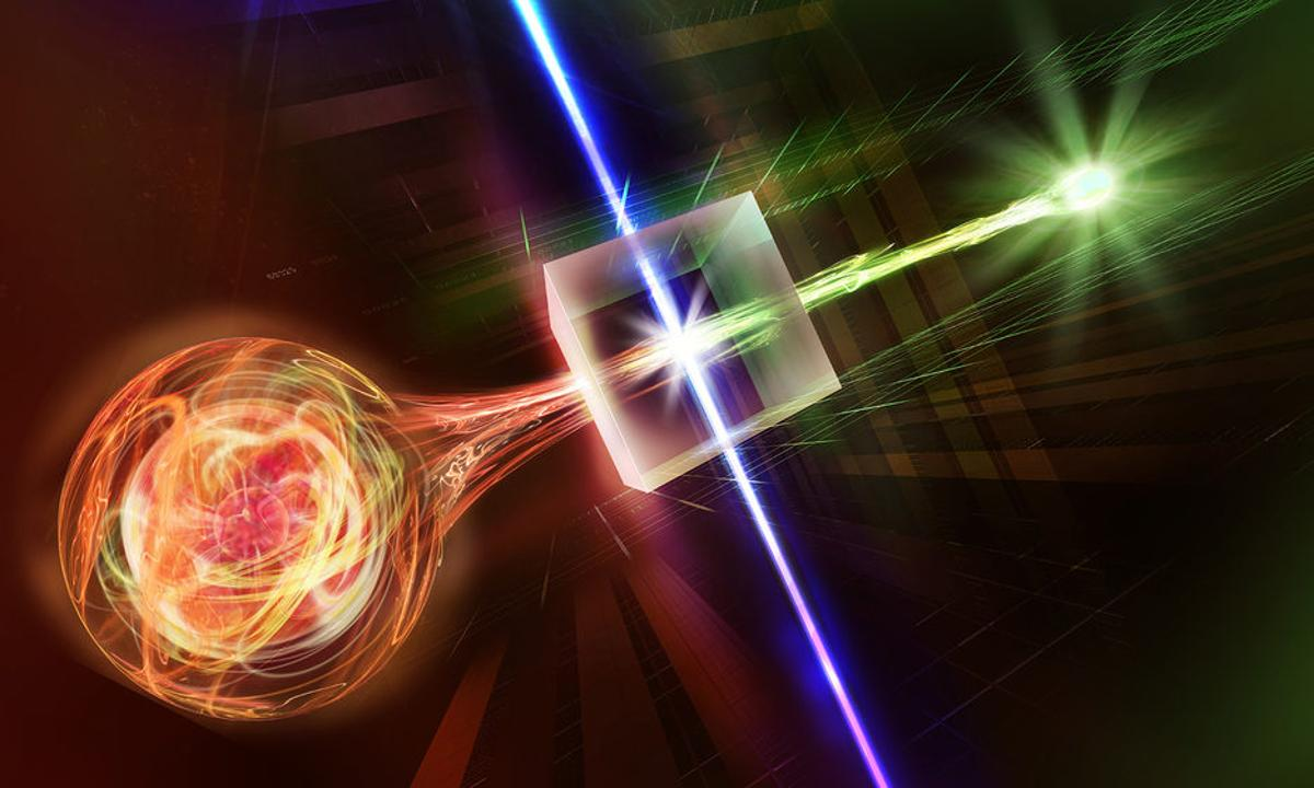 An artist's impression of entangled light and matter, which could form the basis of a quantum internet