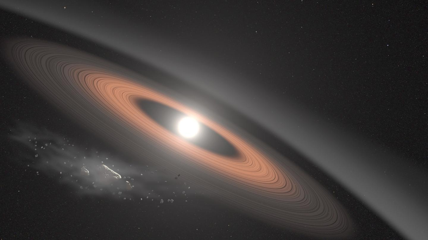 An illustration of the newly discovered white dwarf and its ring system