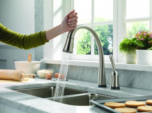 Delta's Pilar kitchen faucet is controlled by a touch anywhere on the faucet or handle