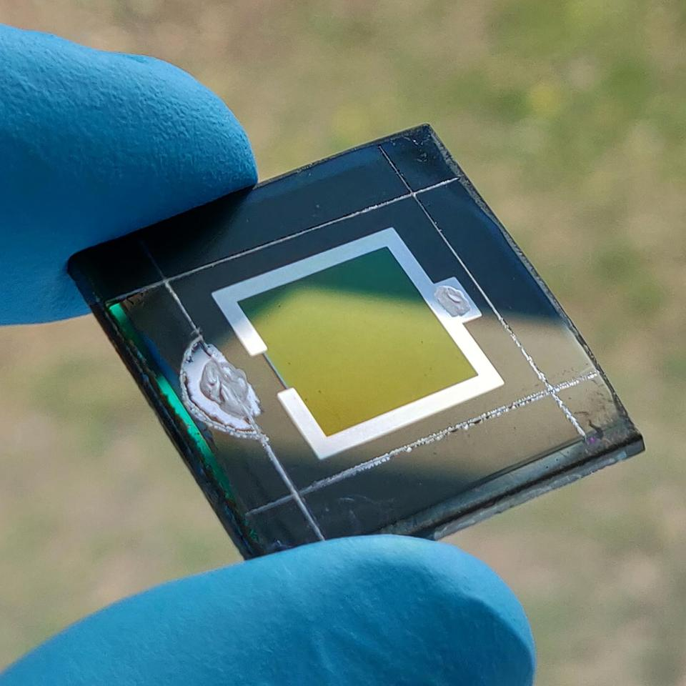 A small sample of the perovskite-CIGS tandem solar cell