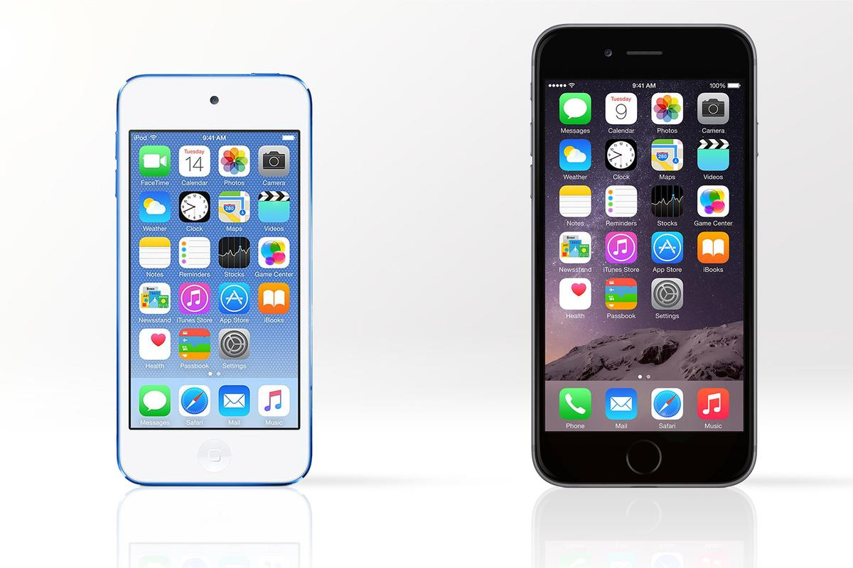 Gizmag compares the features and specs of the 6th-generation iPod touch (left) and its big brother, the iPhone 6