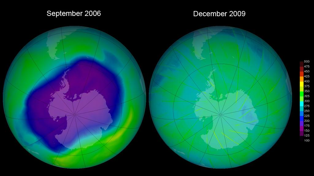 Total Ozone Mapping Spectrometer (TOMS) image of the largest ozone hole ever observed in September 2006 (left) and the ozone layer as it appeared in December 2009