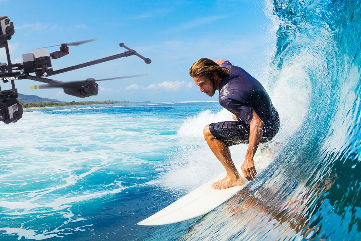 The Janus 360 drone captures video from five cameras fitted to each of its two camera heads