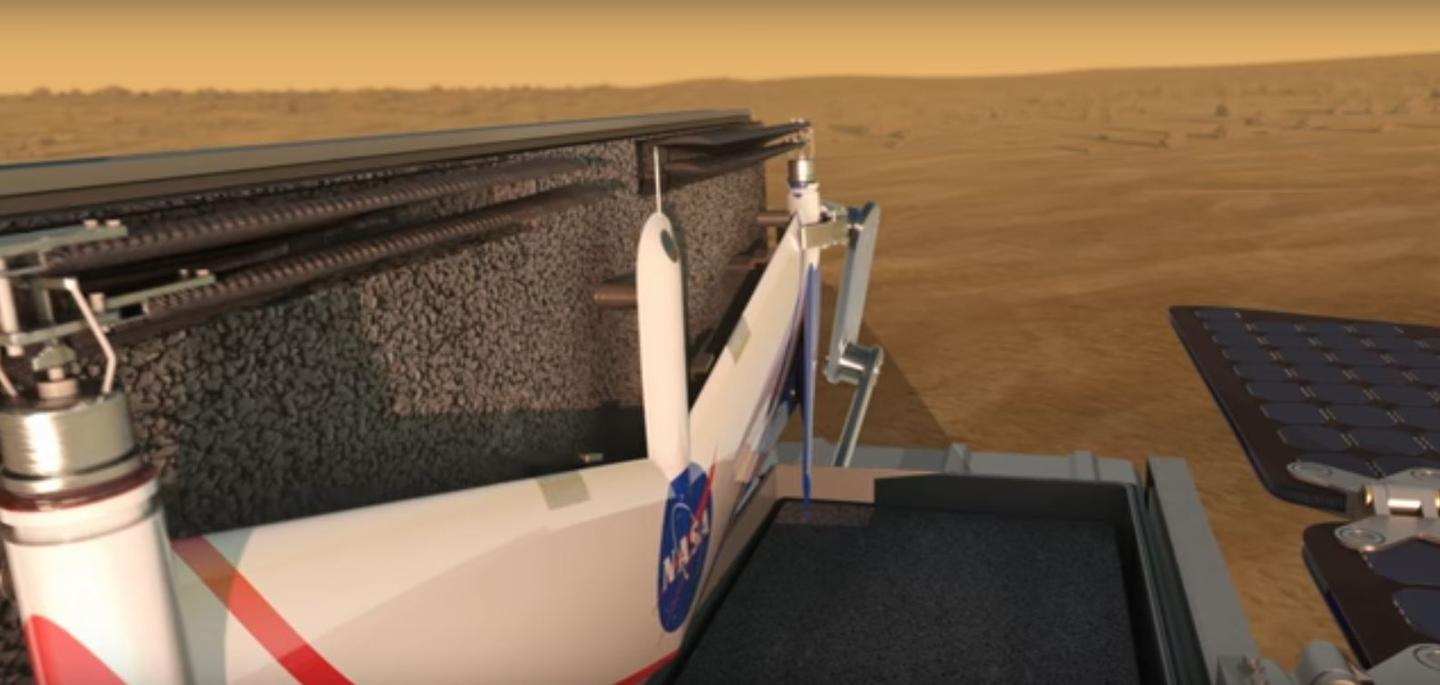 The concept drone would recharge on a rover