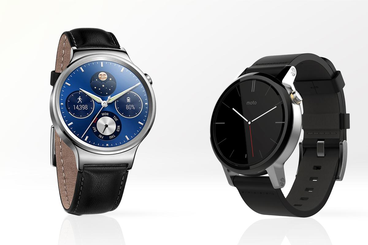 Gizmag compares the features and specs of the Huawei Watch (left) and 2nd-gen Moto 360