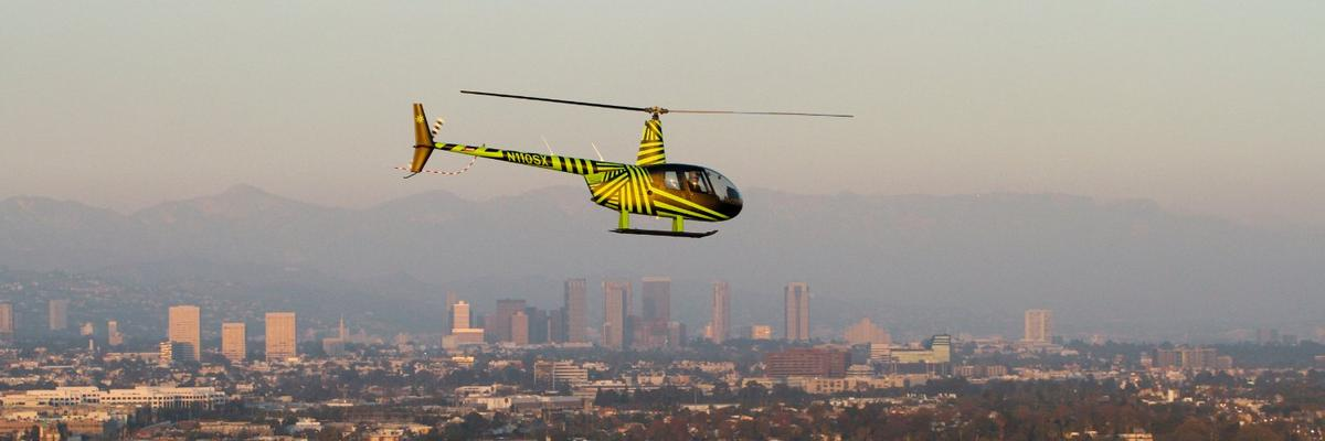 The Luna demonstration helicopter in full flight