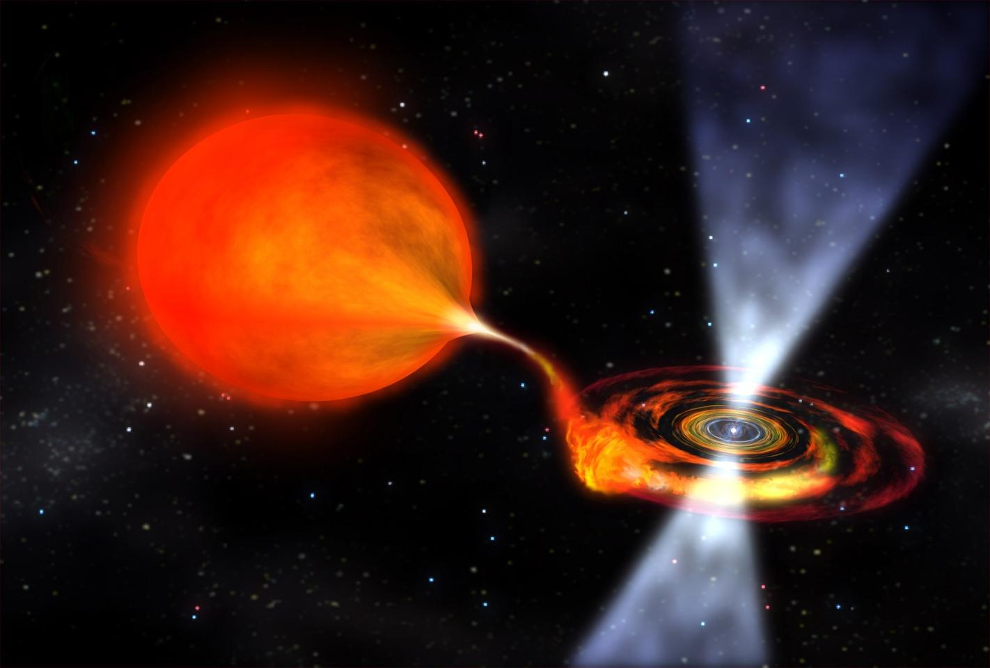A fast-spinneutron star feeding off the matter from a red giant companion