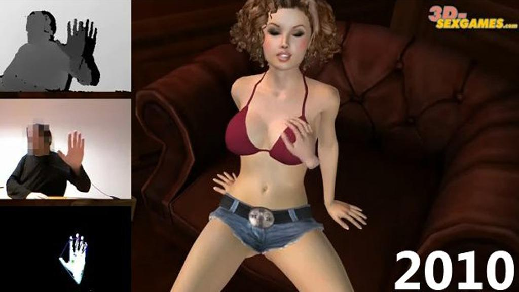 Thing gets down to business in a virtual sex game using the Kinect (Image: CrunchGear