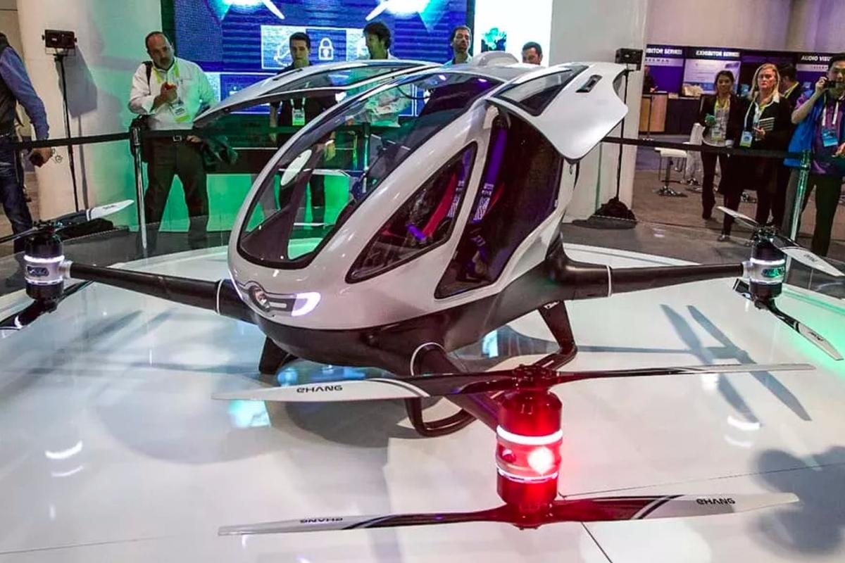 The Ehang drone can be ordered via a smartphone application, and uses onboard navigation systems to carry passengers to their desired location