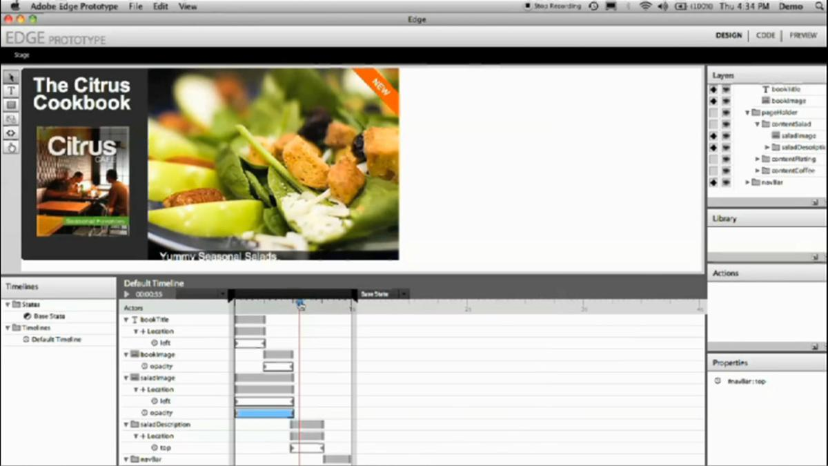 The Adobe Edge HTML5 animation tool interface