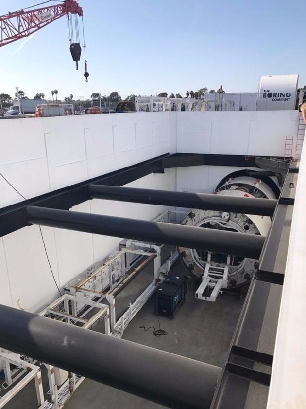 A test tunnel at The Boring Company's headquarters in LA