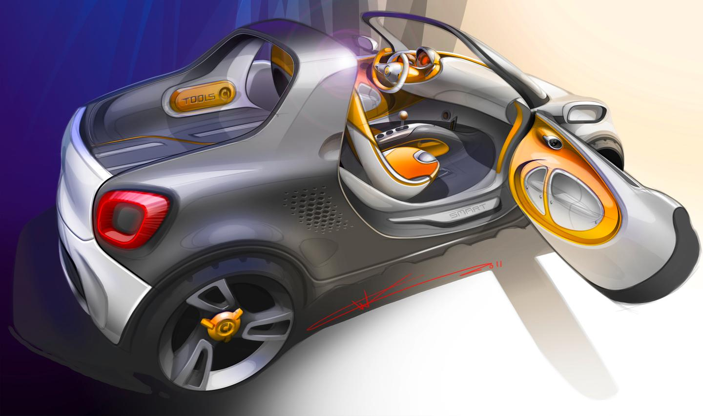 The smart for-us is a concept car, that combines a smart fortwo with a pickup truck