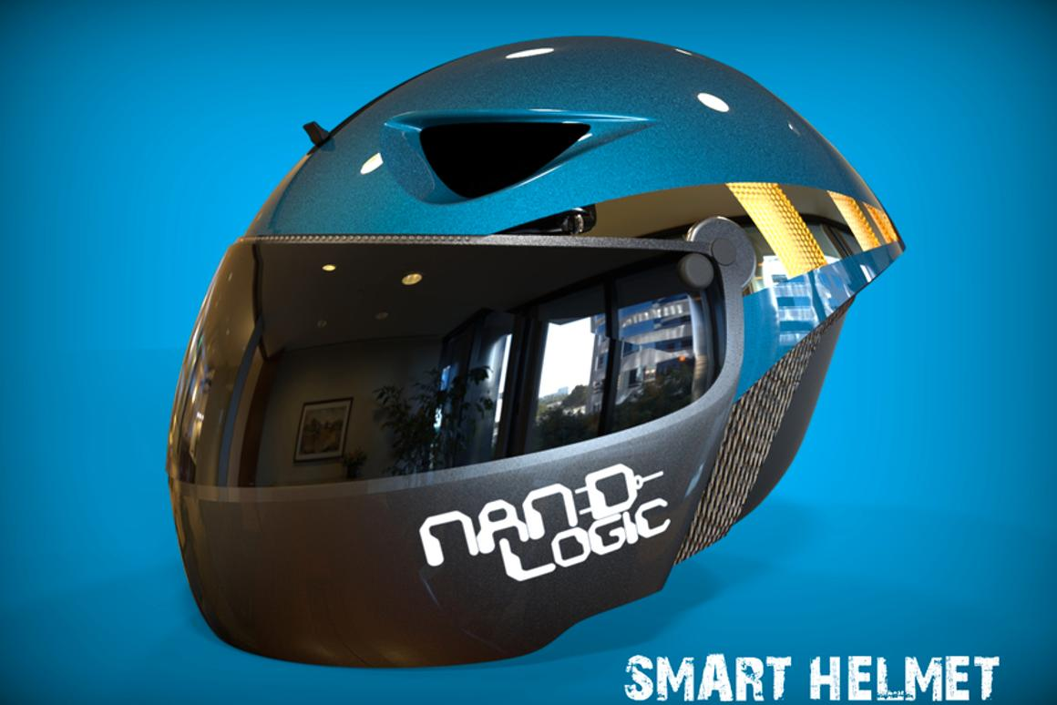 The Smart Helmet's aerodynamic design is intended to lessen wind noise