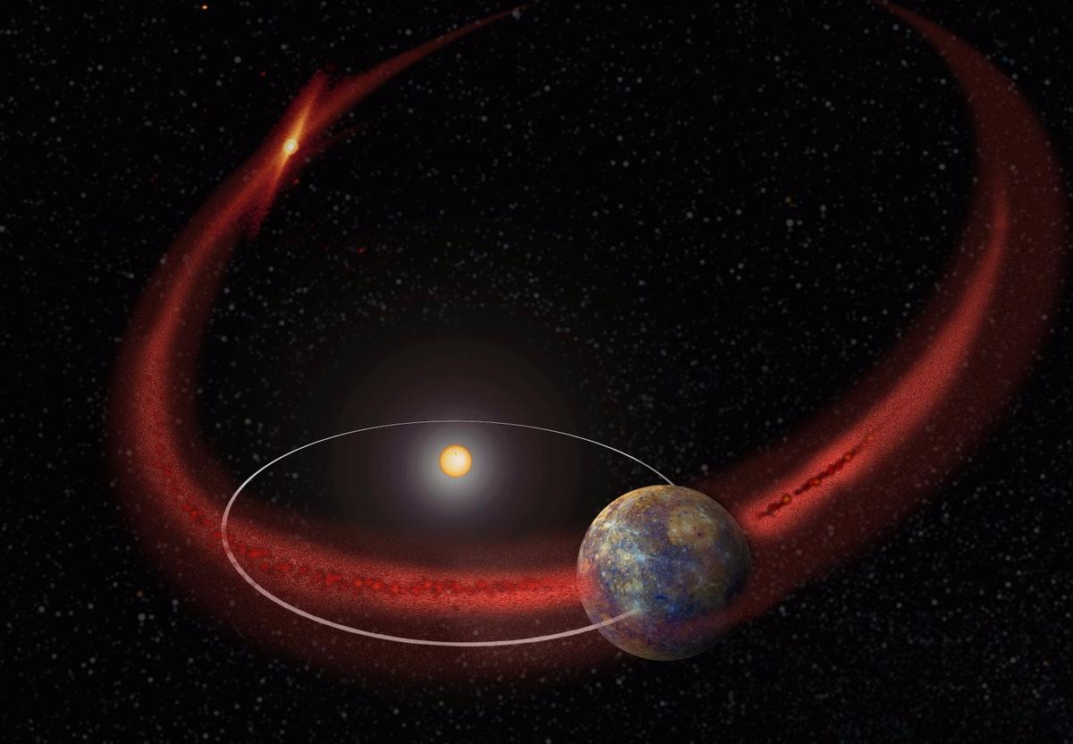Artist's impression of Mercury moving through the dust stream left behind my the comet Encke