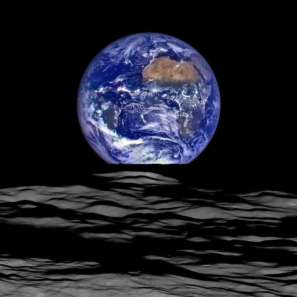 Image of Earthrise as captured by NASA's Lunar Reconnaissance Orbiter