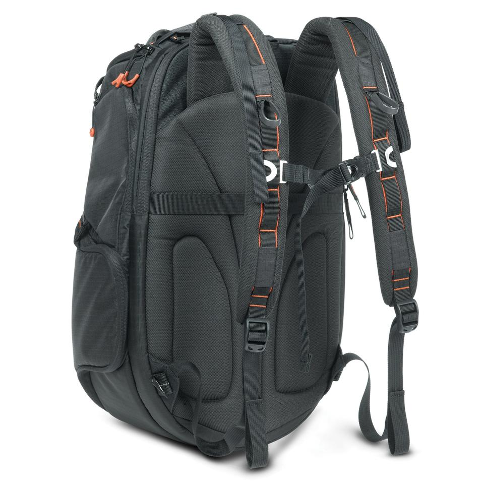 A foam Spine Guard on the back, along with padded shoulder straps and clasps for the chest and waist, ensure that the bag is comfortable to carry, even when filled with gear