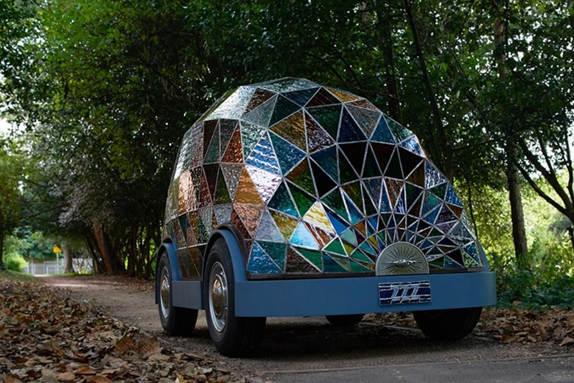 Artist Dominic Wilcox has created a stained glass driverless concept car (Image: Sylvain Deleu)