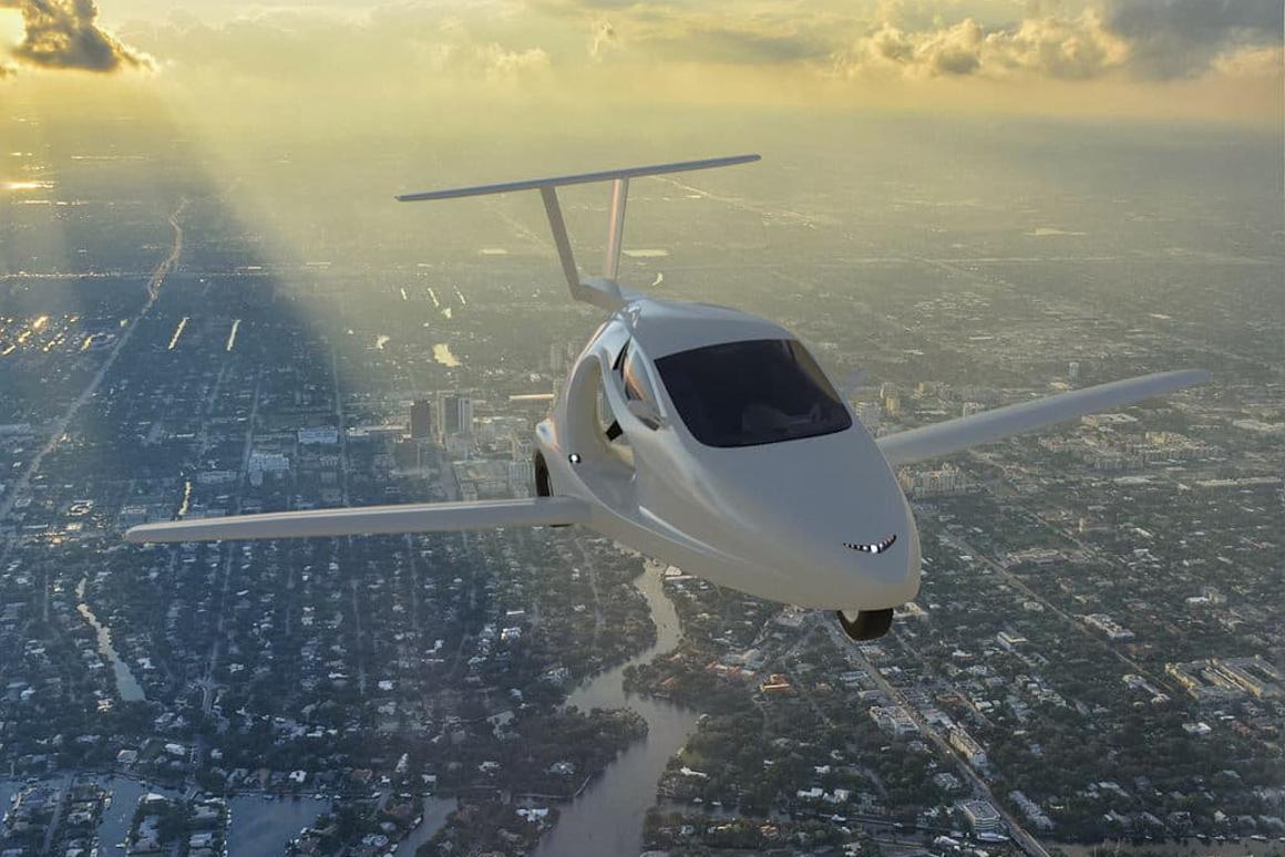 Switchblade flying trike in flight mode